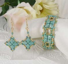 Woven Bracelet and Earrings in Turquoise Green Silky Beads