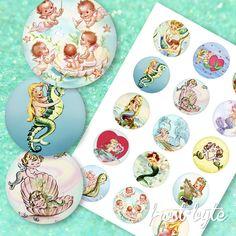 Mermaid Images, Image Sheet, Vintage Mermaid, Collage Sheet, I Am Happy, Mermaids, Digital Scrapbooking, Graphic Design, Colours