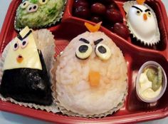 "Angry Birds Onigiri Bento Box: 	""An idea struck me when it was my son's lunch box day on Fridays. He loves Onigiri, so I made him an Angry Birds Lunch Box!"" -blackswanst"