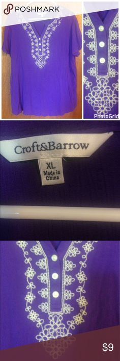 Pretty purple blouse by Croft and Barrow size XL Nice blouse with embroidered detail at neckline. Croft and Barrow size XL croft & barrow Tops Blouses