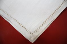 Vintage Cream Linen Napkins gold trim 6 gently by pressedwithlove