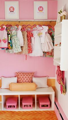 Love love LOVE this closet so much- obviously the adorable dresses hanging up help, but the COLORs and the hangers and wonderful reading nook and patterns are so completely my jam I can't stop thinking about it