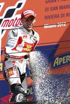 2012 Moto GP Round 13 at Misano. Picture features #19 Alvaro Bautista on the podium. For more information visit http://motorcycles.honda.com.au/honda_racing/