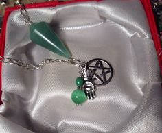 Natural Gemstone Pendulum Calming Green Amazonite on Silver chain green Cats Eye charm hand in heart Pentagram Chakra Stone Truth & courage  on Etsy, $10.00