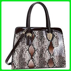 Dasein Patent Faux Leather with Snake Skin Detail Shoulder Bag (Brown) - Shoulder bags (*Amazon Partner-Link)