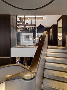 Agatha O l Park Associati, Andrea Martiradonna · Brioni Boutiques Worldwide Contemporary Architecture, Interior Architecture, Architecture Details, Interior Design, Interior Staircase, Staircase Design, Luxury Staircase, Modern Staircase, Stair Handrail