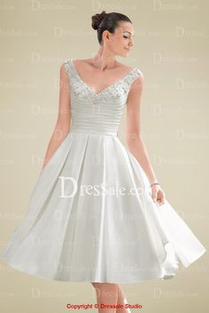 Tea-length V-neckline Pleated Bodice Wedding Dress with Beaded Appliques and Pockets