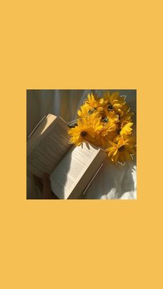 Yellow aesthetic wallpaper with flowers and a book. Picture isn't mine! Yellow aesthetic wallpaper with flowers and a book. Picture isn't mine! Yellow Aesthetic Pastel, Aesthetic Pastel Wallpaper, Flower Aesthetic, Aesthetic Collage, Aesthetic Wallpapers, Aesthetic Drawing, Aesthetic Grunge, Aesthetic Black, Pastel Colours