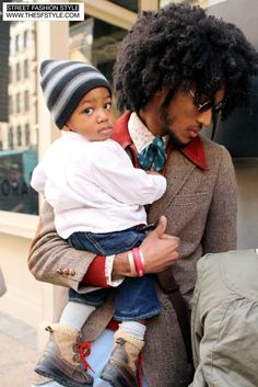 Lamb Wool lions Mane Black Brother with his crown of glory with his young prince :)