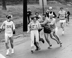 How far we have come as a society. Use to be hard to imagine this kind of treatment being tolerated. Let us not allow human rights and dignity back slide now. People will be looking back at photos from our present time, what will they be thinking of us?   Kathy Switzer Roughed Up By Jock Semple In The Boston Marathon - Paul Connell/The Boston Globe/Getty Images