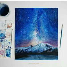 how to draw beginners Galaxy Painting, Galaxy Art, Night Sky Painting, Watercolor Projects, Watercolor Paintings, Watercolour, Painting Inspiration, Art Inspo, Doodle Design
