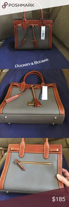 "Dooney & Bourke NWT Pebble Grain Ariel Satchel Brand new Dooney & Bourke Pebble Grain Satchel in Elephant.  Red lining.  Dust bag and registration card included.  Strap drop 5"". Purchased in December 2016, kept in dust bag ever since. Dooney & Bourke Bags Satchels"