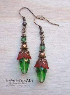 Christmas earrings Statement earrings Dangle by HandmadeByMMS