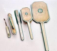 Vintage Vanity Set / Vintage Mirror and bristle brush retro beauty set hand murkierj
