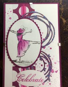 "Stampin up "" beautiful you"", using the new watercolour pencils and rich razzleberry."
