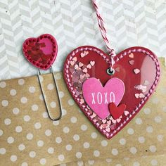 Shaker Tag and Heart Clip by Heather Nichols for Papertrey Ink (January 2016)