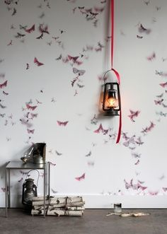 This might be an option for Katherine's room. Butterfly wallpaper