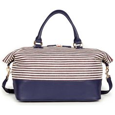 Sole Society Mariah Stripe Weekender ($37) ❤ liked on Polyvore featuring bags, luggage and blue stripe