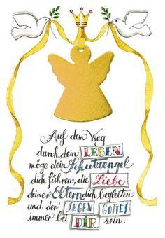 Greeting card for baptism Guardian Angel - Engel - Geschenkideen Invitation Design, Invitation Cards, Invitations, Congratulations Card, Kindergarten, Lettering, Angeles, My Love, Words
