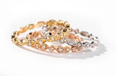 white gold, yellow gold or rose gold and diamond wedding band by Jolie Designs Stackable Wedding Bands, Diamond Wedding Bands, Wedding Rings, 18k Rose Gold, Wedding Stuff, Gold Rings, White Gold, Jewels, Future