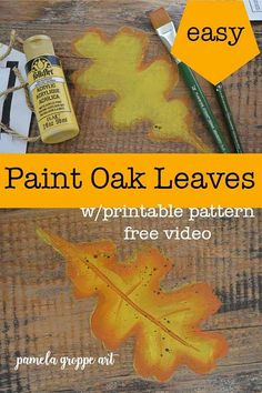 How to Paint Fall Oak Leaves one easy stroke at a time. Free painting tutorial with video and a downloadable pattern. Create fabulous DIY signs, art and Fall decor with this beginner friendly art tutorial in acrylics. #fallcrafts #easypainting #beginnerpainting #canvaspainting #DIYdecor #farmhousedecor #cottagestyle #diysigns Painting Lessons, Painting Tips, Art Lessons, List Of Paintings, Easy Paintings, Autumn Painting, Tole Painting, Oak Leaves, Beginner Painting
