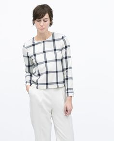 ROUND NECK CHECKED TOP-Blouses-Tops-WOMAN | ZARA United States