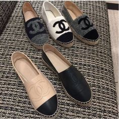 Chanel Wool and Leather Espadrilles - Shoes/Boots - Damenschuhe Leather Espadrilles, Chanel Espadrilles Outfit, Baskets, Aesthetic Shoes, Hype Shoes, Dream Shoes, Espadrille Shoes, Luxury Shoes, Shoe Brands