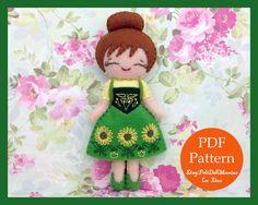 Anna in Frozen Fever. Frozen. Felt Doll. Felt pattern. PDF Pattern. Sewing pattern. Felt Crafts.