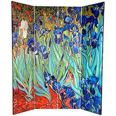 Tall Double Sided Works of Van Gogh Canvas Room Divider - Irises/Starry Night Over Rhone - Wide selection of Room Dividers, Shoji Screens, Oriental and Asian Home Furnishings, Chinese Lamps and accessories at warehouse prices. Fabric Room Dividers, Wooden Room Dividers, Hanging Room Dividers, Folding Room Dividers, Folding Screens, Wall Dividers, Privacy Screens, Metal Room Divider, 4 Panel Room Divider