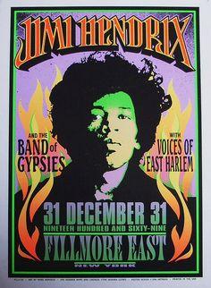 Jimi Hendrix concert poster Filmore East