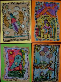 OZ KIDZ ARTZ - third grade Mexican Amate paintings embellished with Faber Castell opaque pens.