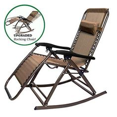 PARTYSAVING Infinity Zero Gravity Rocking Chair Outdoor Lounge Patio Folding Reclining Chair APL1271 Brown