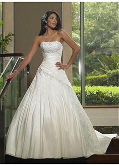 LACE BRIDESMAID PARTY BALL EVENING GOWN IVORY WHITE FORMAL PROM BEAUTIFUL TAFFETA A-LINE STRAPLESS WEDDING DRESS