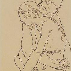Two women embracing, 1918 #egonschiele #schiele #simplicity #egonschieleswomen #art #love #girlpower