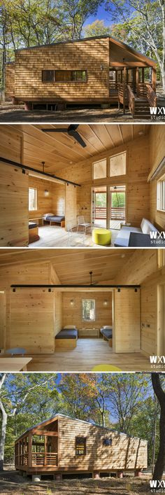 One of ten new cabins the state of New York will be adding to state parks. They range in size from 670 to 784 sq ft! Tiny House Living, Cozy House, State Park Cabins, Tiny Cabins, Cottage Plan, Prefab Homes, Tiny Homes, Tiny House Plans, Tiny House Design