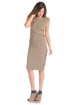 Melange Column Dress in Burnt Olive