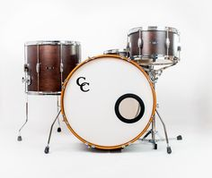 C&C Drums Europe - Vintage Drums - Player Date 2 - Walnut Satin - Kit (front) www.candcdrumseurope.com