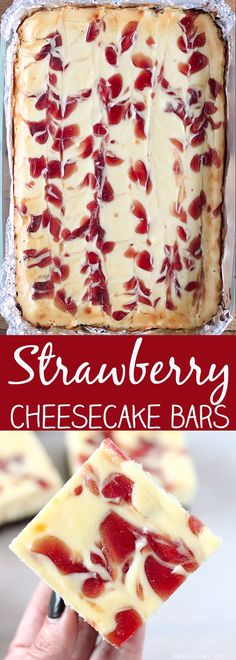 Easy Strawberry Cheesecake Bars - perfect for a crowd and so delicious!