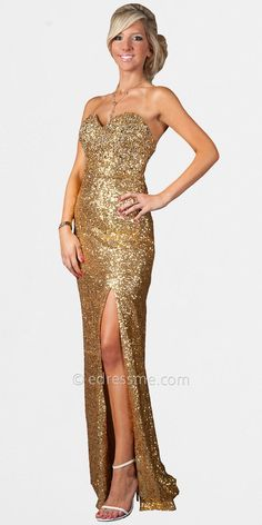 Gold Sequin Prom Dress | Home > Gold Strapless Sequin Prom Dresses by Temptation