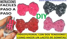 COMO HACER LACITOS DE GOMITAS (LIGAS) CHARMS CON DOS TENEDORES. VIDEO TUTORIAL DIY.