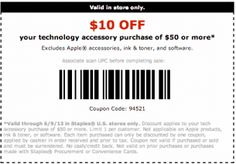REPIN Staples Coupons Printable 10 Off and start saving today!