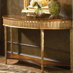 Incroyable Jonathan Charles Small Gilded Demilune Console Table