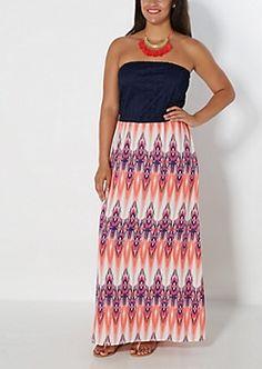 Plus Aztec Streak Tube Maxi Dress