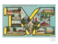 University of Michigan Views, 'M' Art Print at Art.com
