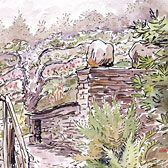 Beatrix Potter, 'Garden path and stone outhouse at Fawe Park' - I lived at Fawe Park for a year in 1985/1986!