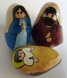 Simple, stylistic nativity scene figures painted on decorative stones by Cindy Thomas (nativity sets)