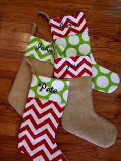Burlap Christmas Stockings - SET OF 4 - Trendy - Chevron Dot - Personalized
