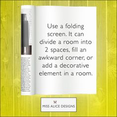 If you want to split a room in two or even just fill an empty space, a foldings screen can go a long way.  #folding #screen #designtip #MissAliceDesigns