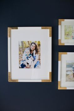 DIY Gold Corner Picture Frames | Read More on SMP: http://www.stylemepretty.com/living/2016/01/20/diy-gilded-frames/