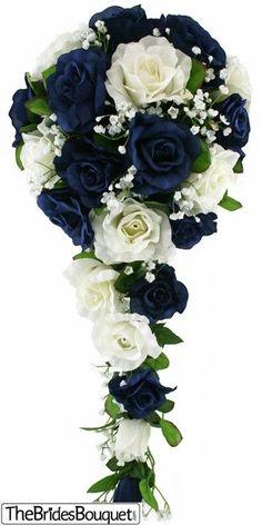 http://TheBridesBouquet.com - Navy Blue and Ivory Silk Rose Cascade - Bridal Wedding Bouquet, $44.99 (http://www.thebridesbouquet.com/navy-blue-and-ivory-silk-rose-cascade-bridal-wedding-bouquet/)